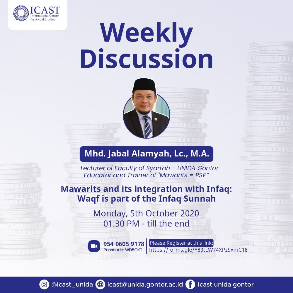 ICAST WEEKLY DISCUSSION: Mawarits and its integration with Infaq: Waqf ia part of the Infaq Sunnah