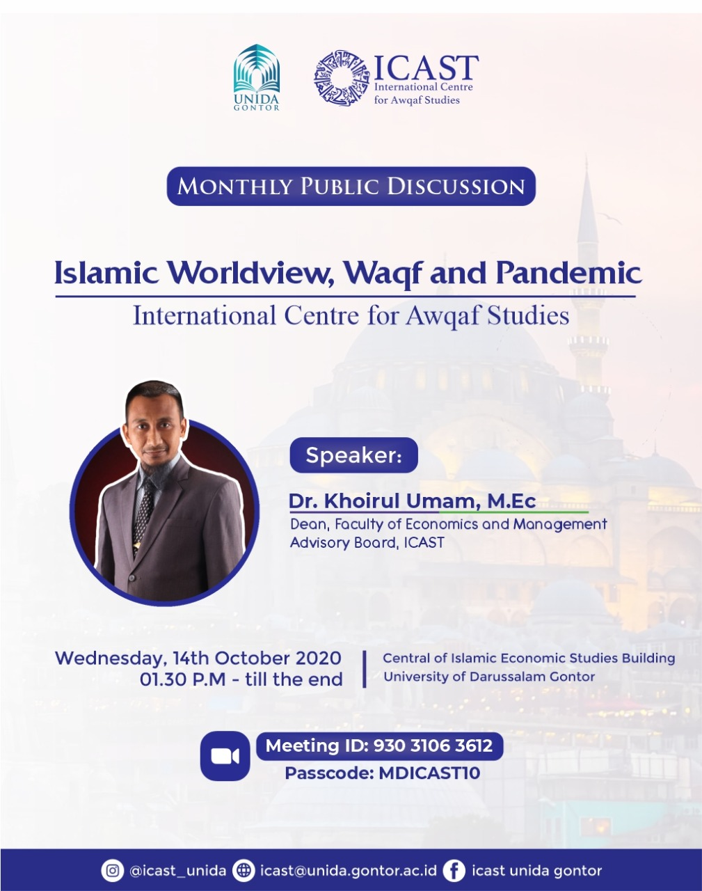 ICAST Monthly Discussion: Islamic Worldview, Waqf and Pandemic