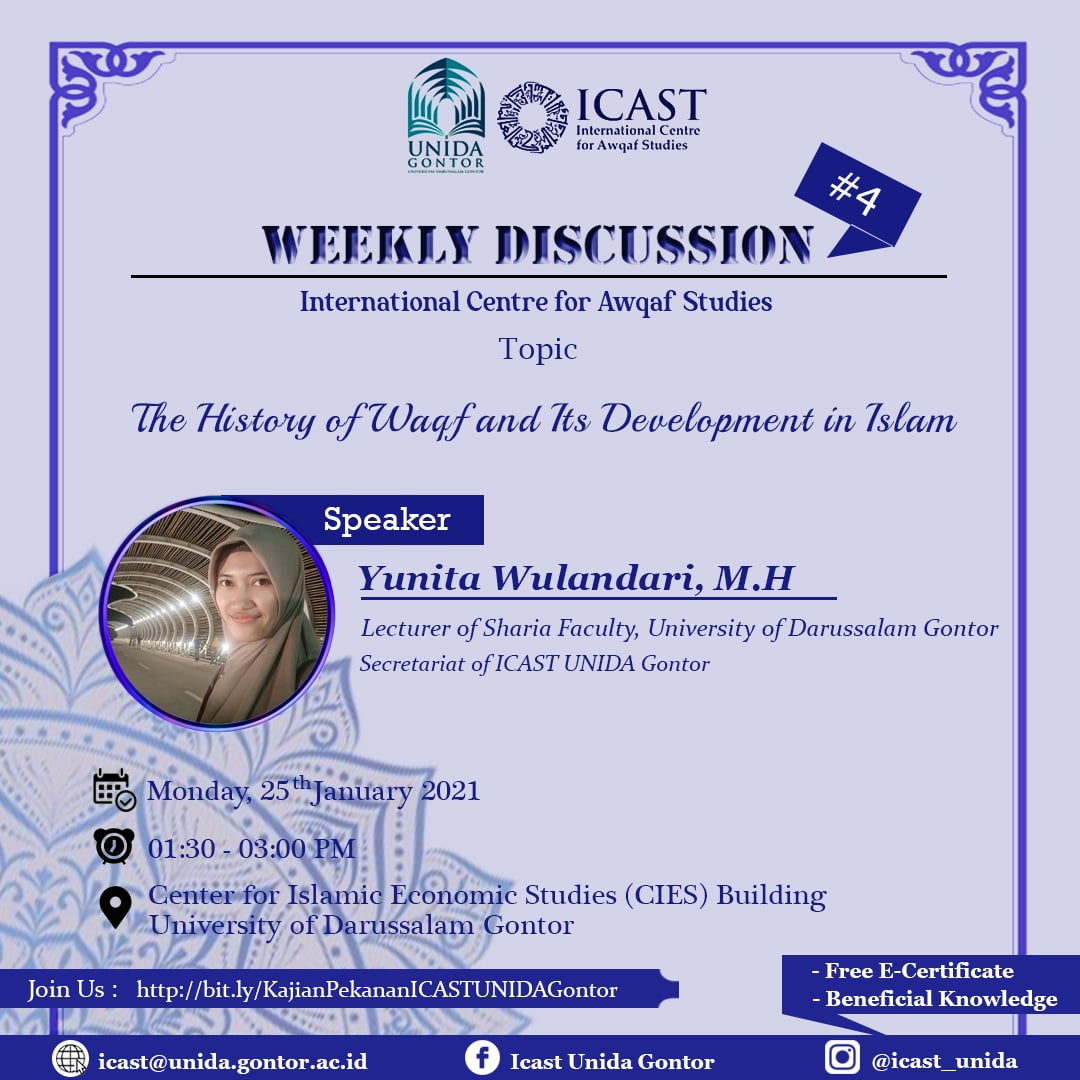 ICAST WEEKLY DISCUSSION: The History of Waqf and Its Development in Islam