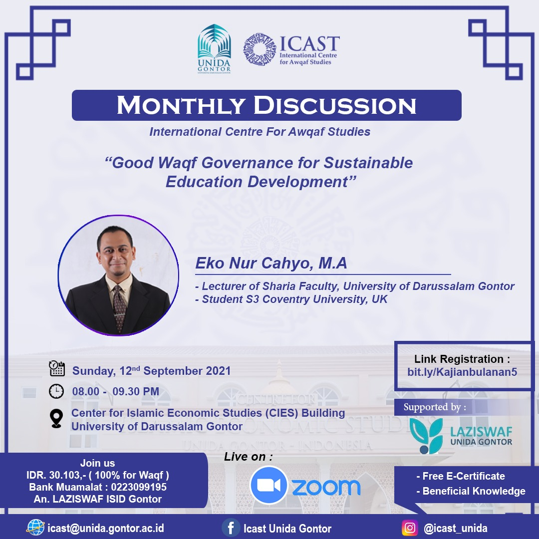 Monthly Discussion – Good Waqf Governance For Sustainable Education Development